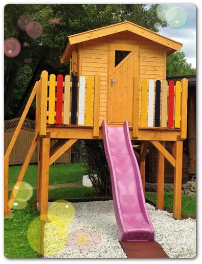 kinderspielhaus auf stelzen mit rutsche. Black Bedroom Furniture Sets. Home Design Ideas